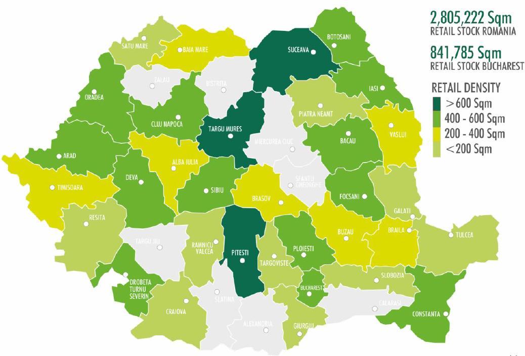 Harta Densităţii De Spaţii Comerciale Din Romania Capital Ro