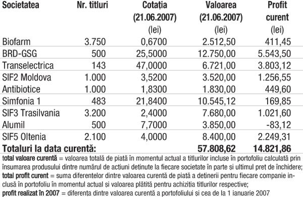 Profitul portofoliului virtual capital în 2007 7.239,77 lei (14,32%)